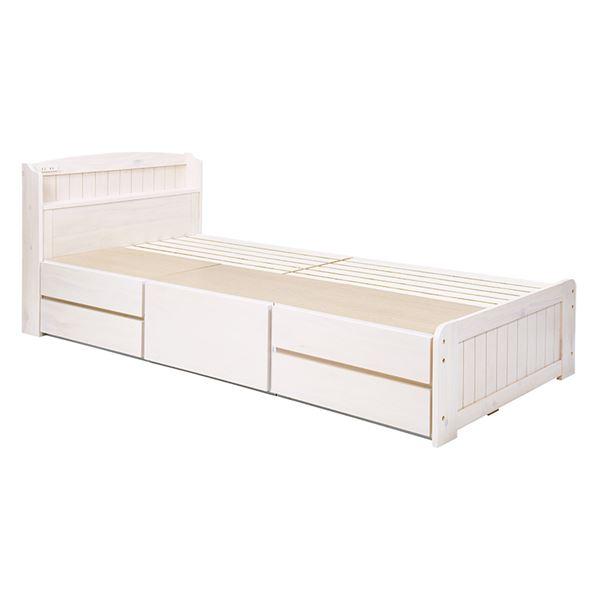 カントリー調 天然木 チェスト付ベッド 【ホワイトウォッシュ シングル】 5杯引き出し 収納ベッド 大量収納 すのこベッド 白 組立品