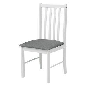 天然木 ダイニングチェア 2脚組 【ホワイト×グレー】 木製 チェア チェアー 椅子 食卓椅子 ワークチェア 北欧 おしゃれ 白 組立品 - 拡大画像