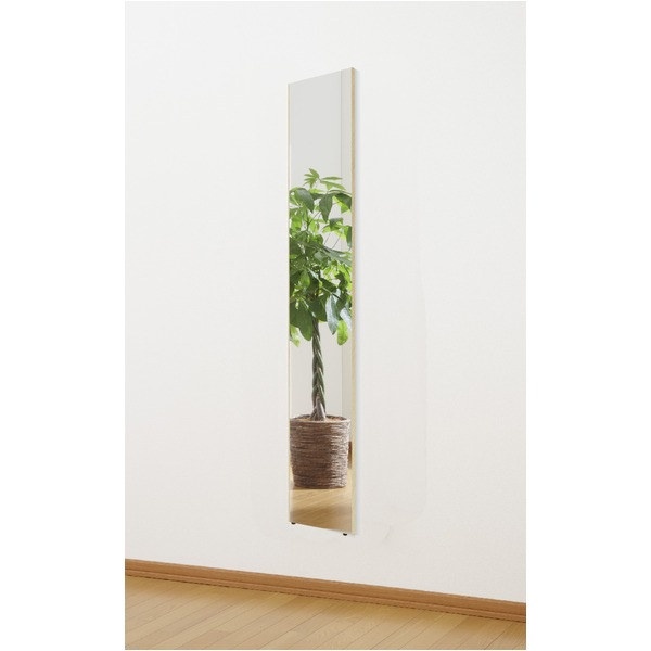 割れない姿見鏡 【ネオスリム 20×120×2cm メープル】 日本製 プロ仕様 両サイド飾縁(幅0.5cm) 『REFEX リフェクス』