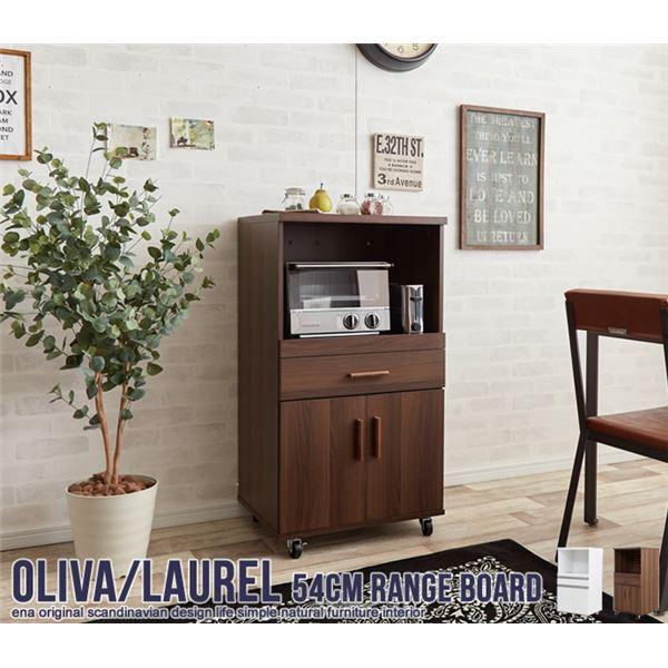 機能的で使いやすい「キャスター付きレンジ台(キッチン収納/キッチンボード) 幅54cm ブラウン スライド棚/引き出し収納付き」