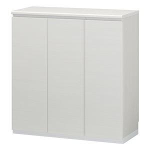 シューズラック/下駄箱 【ホワイト】 幅902mm 日本製 洗える棚板 扉付き収納 組立式 『ポルターレエントランス』 〔玄関〕 - 拡大画像