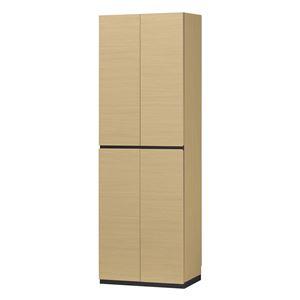 シューズラック/下駄箱 【ナチュラル】 幅60cm 日本製 扉付き収納 組立式 移動棚8枚 『ポルターレエントランス』 〔玄関〕 - 拡大画像