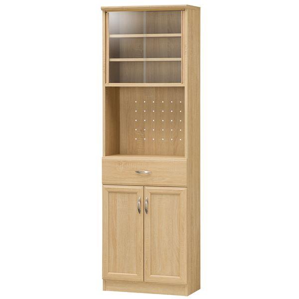 カップボード/食器棚 【ナチュラル】 幅566mm 移動棚 扉収納付き 『ホノボーラ』 〔キッチン 台所 ダイニング〕 組立式