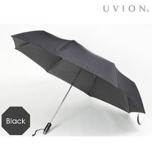 安全ワンタッチ 折りたたみ傘 【ブラック】 直径121cm 重さ420g 自動開閉式 安心ストッパー付き ポリエステル製 『UVION』 - 拡大画像