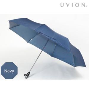 安全ワンタッチ 折りたたみ傘 【ネイビー】 直径121cm 重さ420g 自動開閉式 安心ストッパー付き ポリエステル製 『UVION』 - 拡大画像