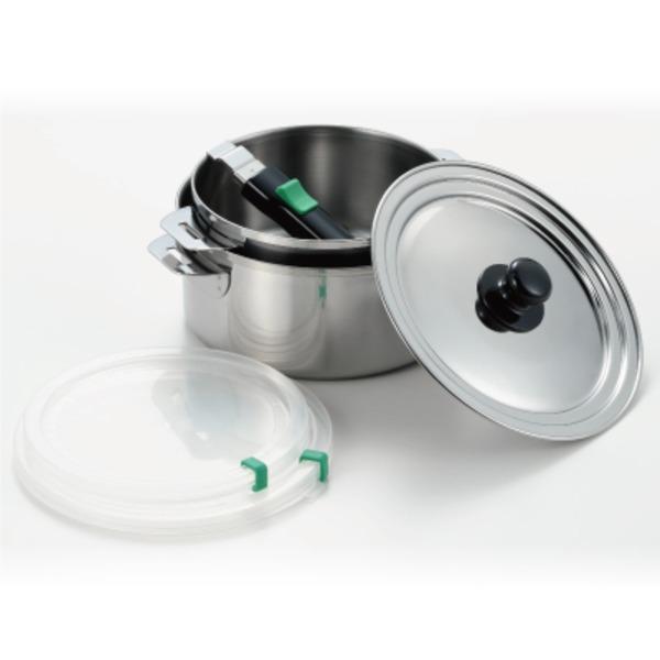 保存もできる鍋/調理器具 【直径16cm&18cm 各1個】 日本製 着脱ハンドル ガス IH対応 『ヨシカワ』 〔台所 キッチン