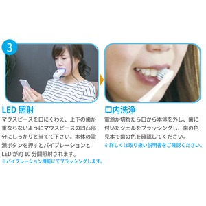 歯用 ホワイトニングライト/LEDライト 【本体約46g 専用ジェル約20g】 充電2h スパークリングイレーサーセット 『WHITH CLUB』