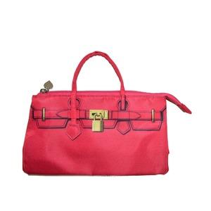 可愛いデザインのバッグインバッグ♪ファスナー付きで中身がこぼれない!全2色 ピンク - 拡大画像