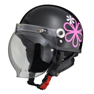 リード工業 (LEAD) バブルシールド付ハーフヘルメット CR760 ブラックフラワー フリー - 拡大画像