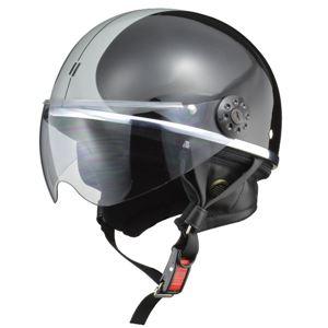 リード工業 (LEAD) ハーフシールド付ハーフヘルメット O-ONE BK/SV フリー - 拡大画像