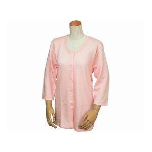 ウエル 婦人用 キルト八分袖前開きシャツ(ワンタッチテープ式) /W461 LL ピーチ - 拡大画像