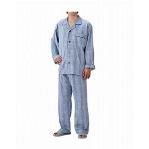丸十服装 介護パジャマ 紳士用 オールシーズン /BK1105 L チェックブルー - 拡大画像