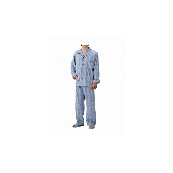 丸十服装 介護パジャマ 紳士用 オールシーズン /BK1105 L チェックブルー