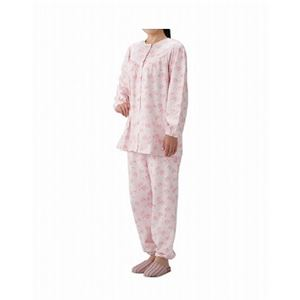丸十服装 介護パジャマ 婦人用 オールシーズン BK1808 フラワーピンク /S - 拡大画像