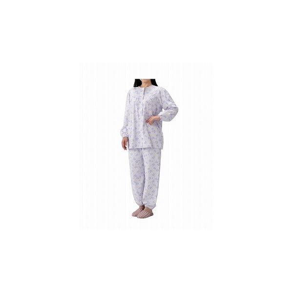 丸十服装 介護パジャマ 婦人用 オールシーズン BK1802 フラワーパープル /M