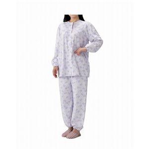 丸十服装 介護パジャマ 婦人用 オールシーズン BK1802 フラワーパープル /L - 拡大画像