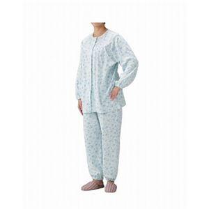 丸十服装 介護パジャマ 婦人用 オールシーズン BK1804 フラワーブルー /S - 拡大画像