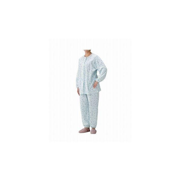 丸十服装 介護パジャマ 婦人用 オールシーズン BK1804 フラワーブルー /S