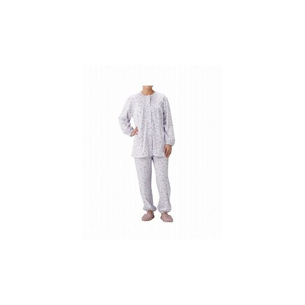 丸十服装 介護パジャマ 婦人用 オールシーズン BK1801 フラワーパープル /S