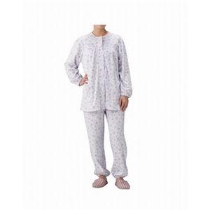 丸十服装 介護パジャマ 婦人用 オールシーズン BK1801 フラワーパープル /L - 拡大画像
