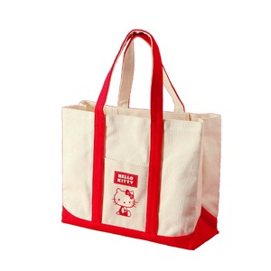 HeLLo Kitty ハローキティ エコエコトートバッグ/鞄 【レッド/赤】 綿使用 裏面ノープリント - 拡大画像