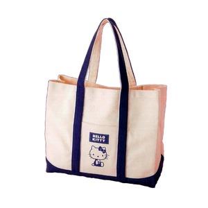 HeLLo Kitty ハローキティ エコエコトートバッグ/鞄 【ネイビーブルー/紺】 綿使用 裏面ノープリント - 拡大画像