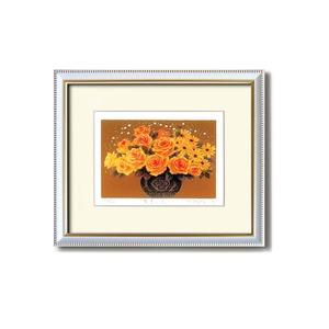 『花』風水額/シルク版画 【吉岡浩太郎 黄色い花】 吊りひも付き 日本製 - 拡大画像
