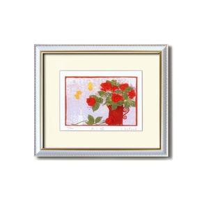 『花』風水額/シルク版画 【吉岡浩太郎 赤い花】 吊りひも付き 日本製 - 拡大画像