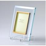 高級クリスタルフォトフレームD×/写真立て 【2L版対応】 180mm×130mm ウルトラホワイトガラス使用 化粧箱入り 日本製