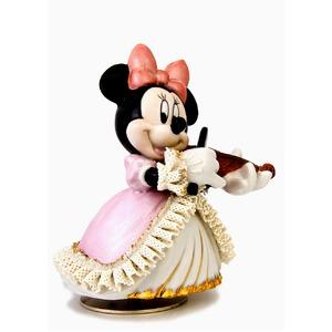 オルゴール/ディズニー陶製レース人形 ミニー 【バイオリン弾き ピンク】 磁器 径13.5×高さ15.5cm 日本製 - 拡大画像