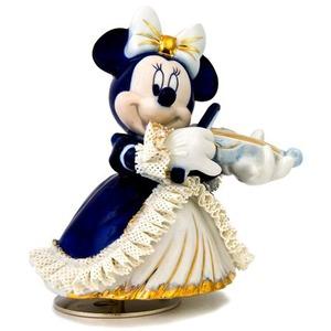 オルゴール/ディズニー陶製レース人形 ミニー 【バイオリン弾き ブルー】 磁器 径13.5×高さ15.5cm 日本製 - 拡大画像