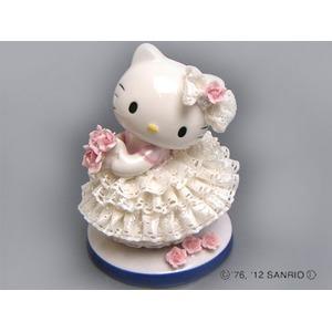 HeLLo Kitty ハローキティ レースドール/陶製人形 【ホワイト】 磁器 高さ14×ベース径11cm 日本製 - 拡大画像
