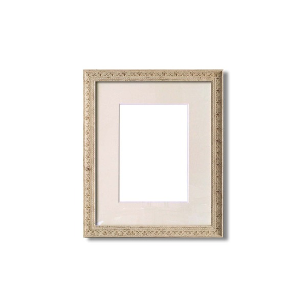 水彩額縁/フレーム 【F4号/ホワイト】 壁掛けひも/アクリル/マット付き 化粧箱入り 8206