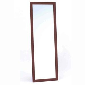 飛び散らないウォールミラー/全身姿見鏡 【壁掛け用】 木製フレーム 飛散防止加工 日本製 ブラウン - 拡大画像