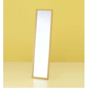 ウォールミラー/全身姿見鏡 【壁掛け用】 ナチュラル 木製フレーム 壁掛けひも付き 日本製 - 拡大画像