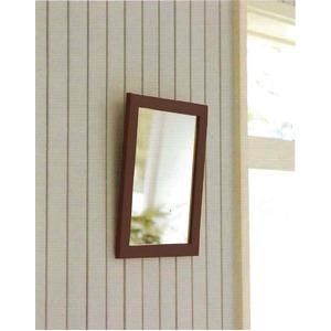 木製スタンド付きミラー 【サイズ 約247×298×28〜250mm】 日本製 ブラウン - 拡大画像