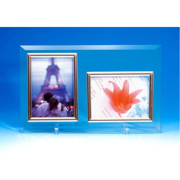 クリスタルフォトフレーム/写真立て  【L版ペア 縦・横】L版(127×89mm)  日本製
