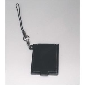 【化粧直しに最適!】携帯コンパクトミラー(ストラップ付) ブラック【5個セット】/日本製 - 拡大画像