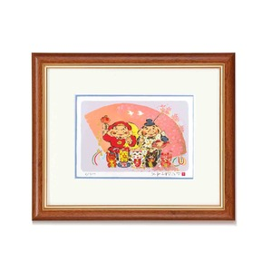 おめでたい七福■シルク版画/額付き 【インチサイズ】 吉岡浩太郎 「金運七福」 243×293×19mm 化粧箱入り 日本製 - 拡大画像