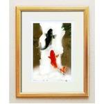 シルク版画/額付き 【大衣サイズ】 吉岡浩太郎 「夫婦滝昇り鯉」(金)  壁掛け紐付き 箱入り 日本製