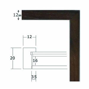 【角額】細い木製正方形額・壁掛けひも・紫外線から作品を守るUVカットアクリル付き ■9102 350角(350×350mm)「墨」