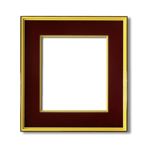 【色紙額】黒い縁に金色フレーム 色紙用 壁掛けひも ■黒金 色紙(マット付き)273×242mm エンジ