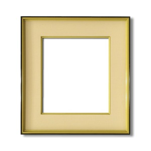 【色紙額】黒い縁に金色フレーム 色紙用 壁掛けひも ■黒金 色紙(マット付き)273×242mm ベージュ