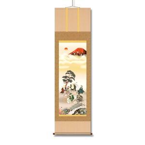 赤富士・丹頂鶴・七福神 ■鵜飼雄平 開運掛軸(尺三) 「七福神万笑之図」紙箱 - 拡大画像