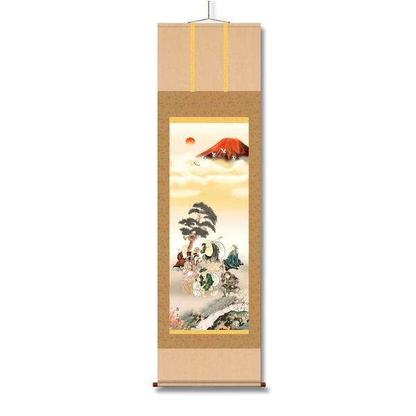 福寿財の三徳をもたらす七福神が一同に集う「赤富士・丹頂鶴・七福神 ■鵜飼雄平 開運掛軸(尺三) 「七福神万笑之図」紙箱」