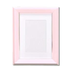 カラー遺影額(ハガキ) ■仏事用額・葬儀額(遺影額)スタンド付 ピンク - 拡大画像