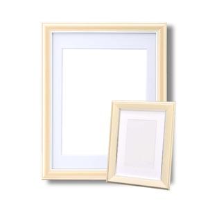 カラー遺影額セット『メモリアルセット』 ■【細い額】仏事用額・葬儀額セット(遺影額) 大小セットA(クリーム )