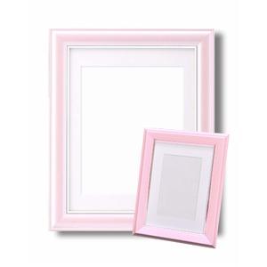 カラー遺影額セット『メモリアルセット』 ■【太い額】仏事用額・葬儀額セット(遺影額) 大小セットB(ピンク)