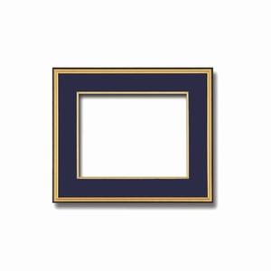【和額】黒い縁に金色フレーム 日本画額 色紙額 木製フレーム ■黒金 色紙F4サイズ(333×242mm) 紺