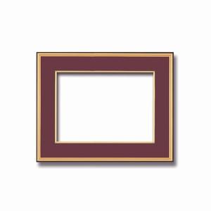 【和額】黒い縁に金色フレーム 日本画額 色紙額 木製フレーム ■黒金 色紙F6サイズ(410×318mm) エンジ